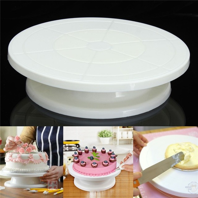 Food Grade Plastic Material Cake Decorating Turntable Rotating Revolving Icing Kitchen Display Stand 28cm Baking Tools & Food Grade Plastic Material Cake Decorating Turntable Rotating ...