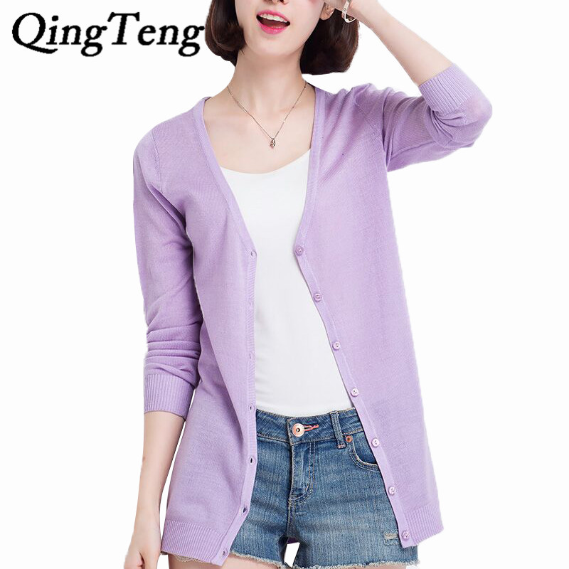 QingTeng Summer Long Knitted Cardigan Female Solid Sun Protect Long Sleeve  Thin Summer V Neck Cardigan - Online Buy Wholesale Summer Cardigan Sweaters From China Summer
