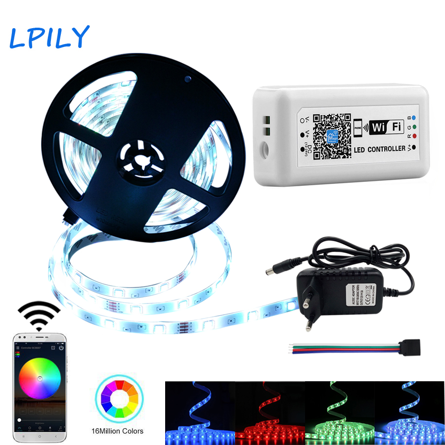 2835 5050 LED WIFI LED Strip 15M Tape Light Non Waterproof 5M 10M RGB WIFI Control Smart Phone Controller led light strip kit mini wifi rgb strip light controller with music control and voice control compatible with google home