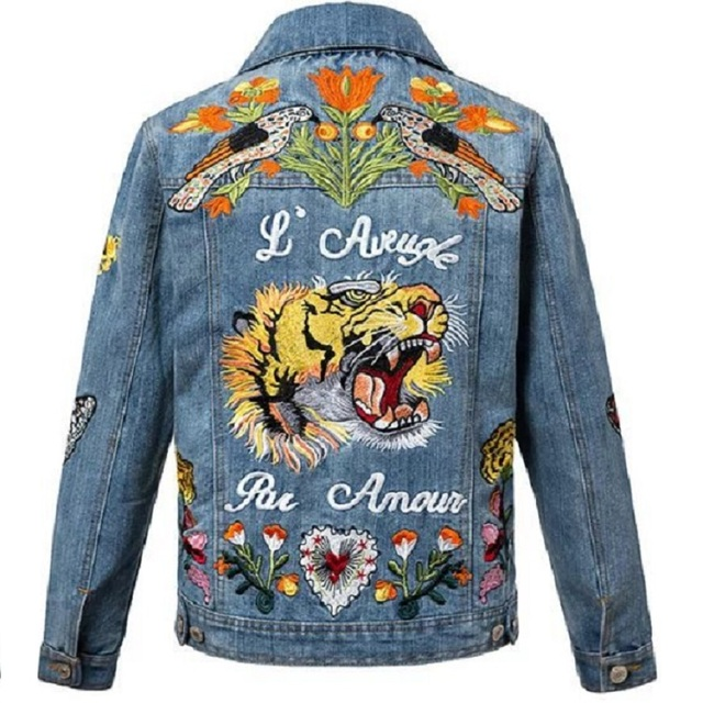 Women Vintage Tiger Embroidered Denim Jacket Tiger Patches Women S