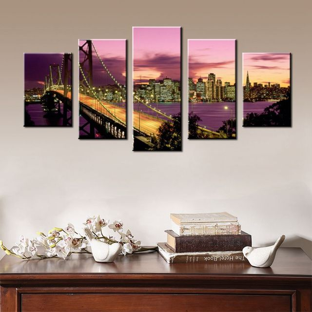 Purple Wall Art Canvas Sunset Dusk Golden Gate Bridge Landscape ...