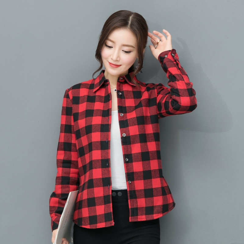 2018 New Brand Women Blouses Long Sleeve Shirts Cotton Red and Black Flannel 1