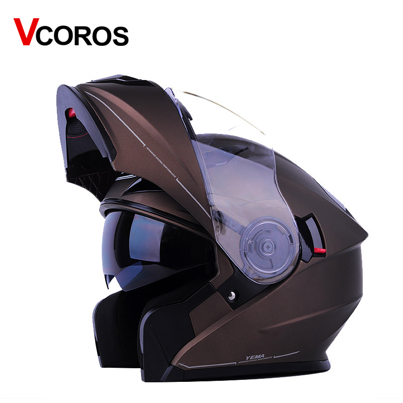 Vcoros flip up Motorcycle Helmet YEMA 927 Modular full face Racing moto helmets with inner sun lens visor motorbike helmet 2017 new knight protection gxt flip up motorcycle helmet g902 undrape face motorbike helmets made of abs and anti fogging lens