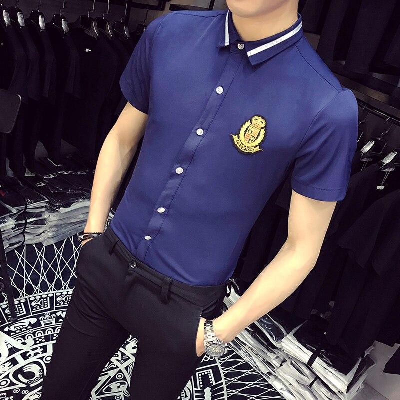 Plus Size Men Shirt Summer 2018 Brand New Slim Fit Casual Social Shirts Dress Men Short Sleeve Night Club Work Shirts 5XL-S Sale