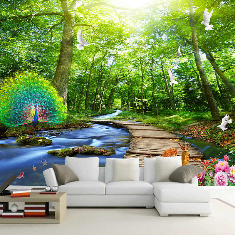 Custom Mural Wallpaper 3D Forest Peacock Wood Bridge Nature Scenery Photo Wall Murals Living Room TV Sofa Backdrop Wall Painting