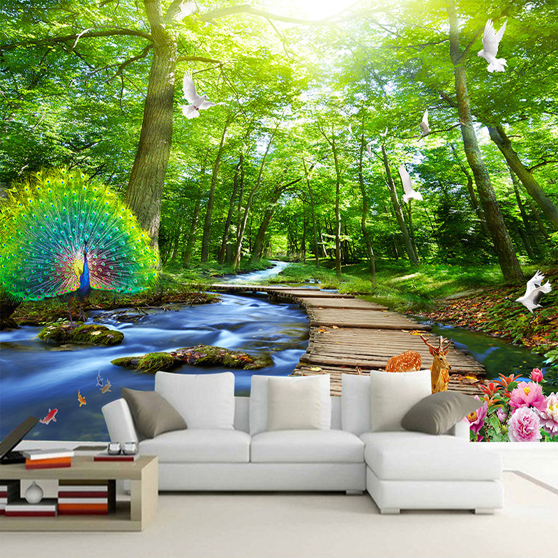 Custom mural wallpaper 3d forest peacock wood bridge for Custom wall mural