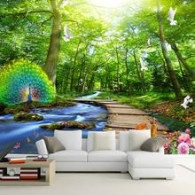Kundenspezifische Wandtapete 3D Wald Pfau Holz Brcke Natur Landschaft Foto Wandbilder Wohnzimmer TV Sofa Hintergrund Wandmalere