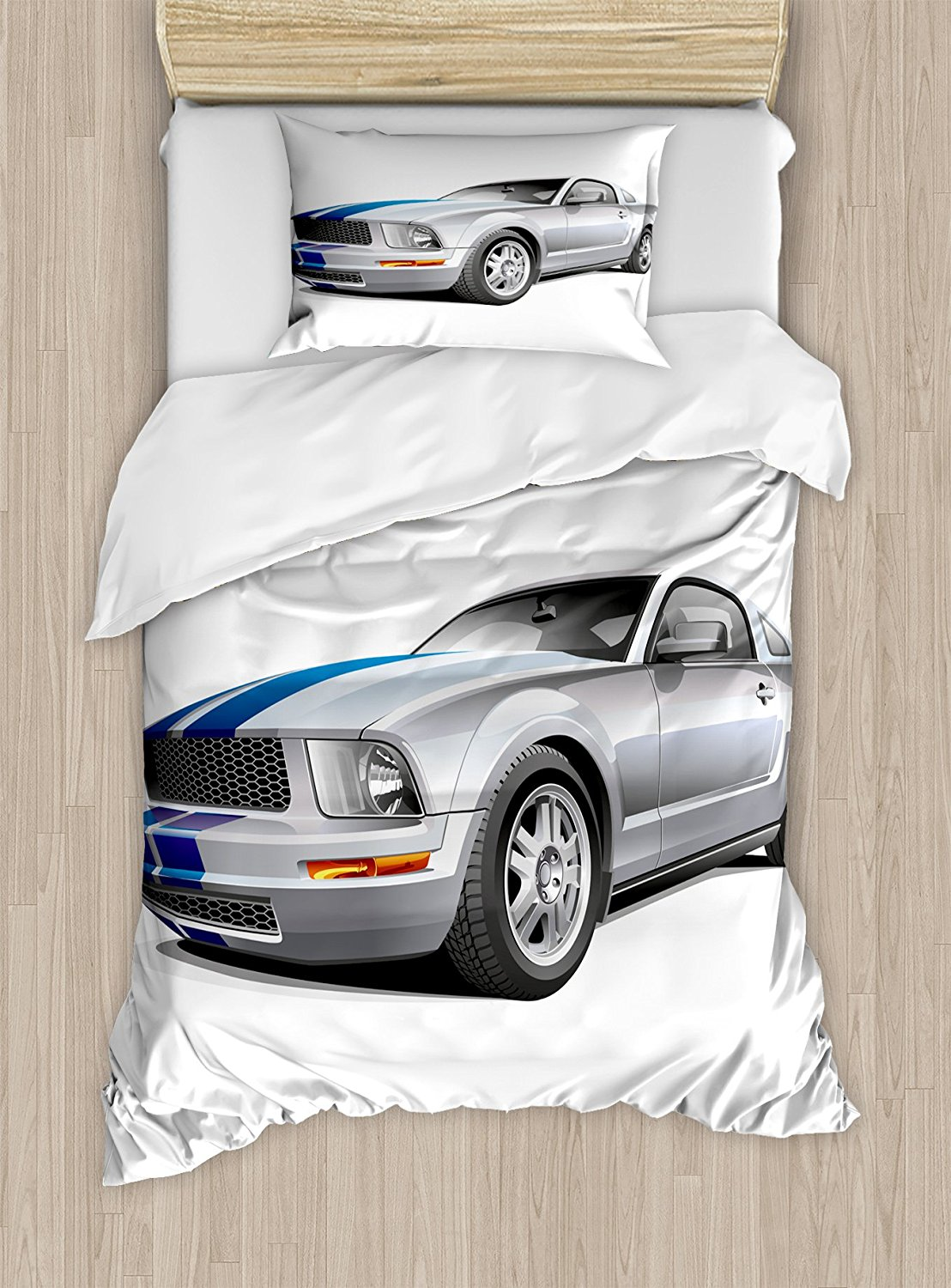 Teen Room Duvet Cover Set Modern Cool Car Automobile Fancy Speed Fast Vehicle Illustration Print Decorative 4 Piece Bedding Set