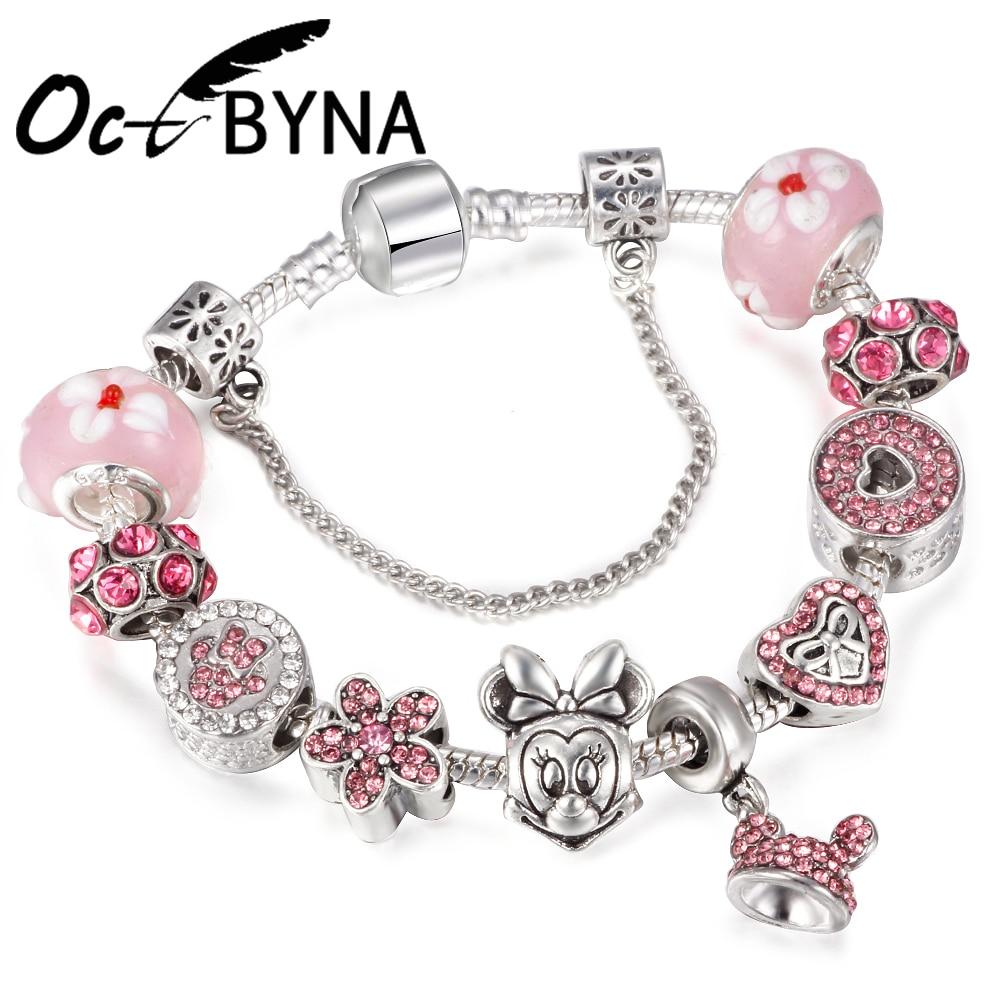 Octbyna 2018 Pink Handmade Murano Glass Beads Mickey and Minnie Charm Bracelet Fit Women Kids Pandora Bracelet Female Jewelry