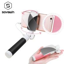 Rotatable Mini Selfie Stick with Mirror Folding Monopod Extendable Aluminum Universal Selfie LED Ring Light for