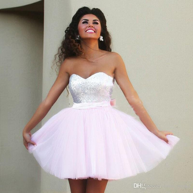 2016 Pink homecoming Dresses Cheap Mini prom Party Gowns 2016 8th grade graduation  dress-in Homecoming Dresses from Weddings   Events 4d0ac14364b0