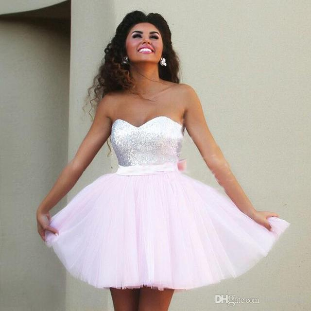 2016 Pink homecoming Dresses Cheap Mini prom Party Gowns 2016 8th grade  graduation dress 8c967ddfe09f