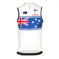 Men Latest Styles Australian Flag Cycling Jersey Wear Bicycle Red Riding Racing Mountain Sleeveless Bike Triathlon