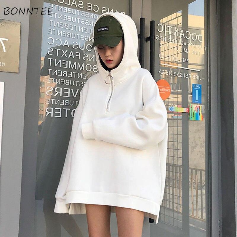 Hoodies Women Winter Elegant Warm Full Sleeve Hooded Thicken Plus Velvet Womens Pullover Solid Long Style Ladies Sweatshirts