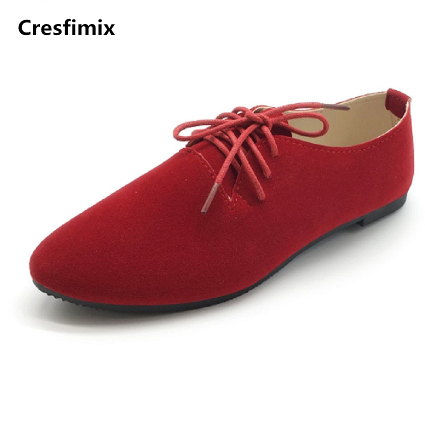 Cresfimix sapatos femininos women casual point toe flat shoes lady spring & summer cool shoes female cute office lace up shoes cresfimix sapatos femininas women casual soft pu leather flat shoes with side zipper lady cute spring