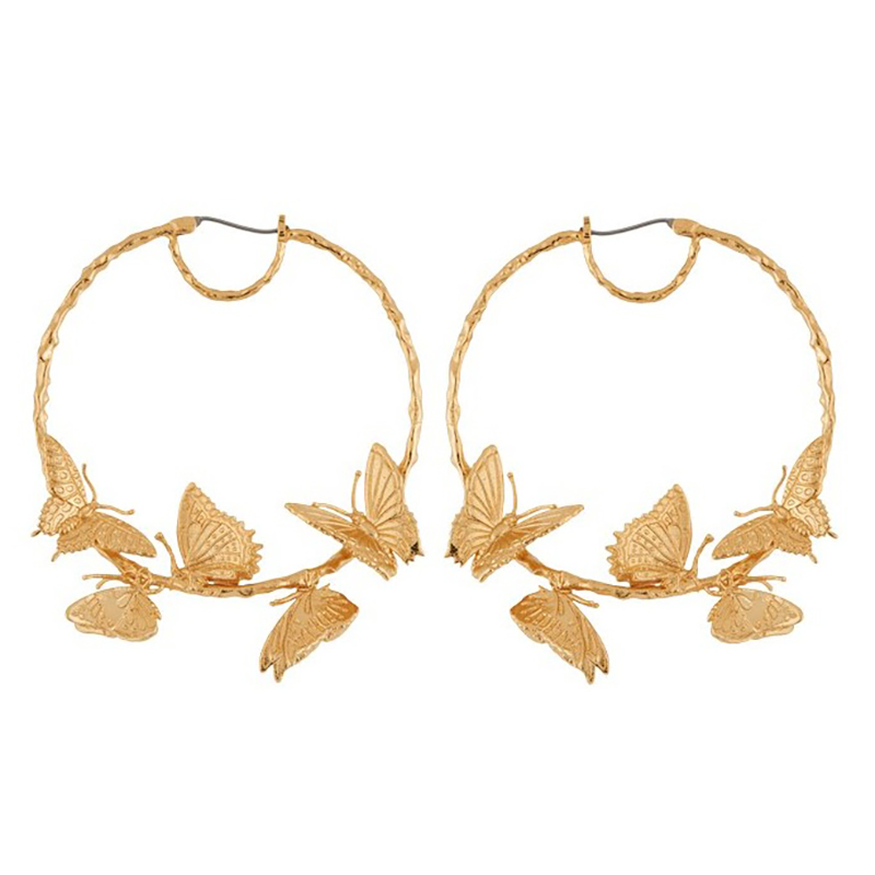 SRCOI Alloy Butterfly Earrings Hoops Exaggerated Creative Gold Round Circle Luxurious Huggie Women's Hoop Earrings Bohemian New 1pc bohemian style colorful butterfly earrings