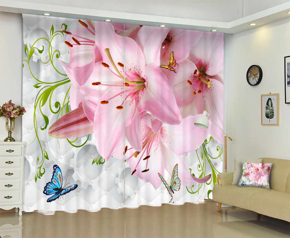 Creative Flowers And Butterfly 3D Window Curtain For Bedding Room