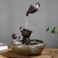 Творческий китайский стиль воды фонтан украшения гостиной украшения фэн шуй счастливый офис рыба бак увлажнитель