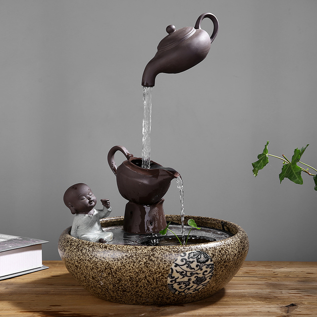 Creative Chinese Style Water Fountain Decoration Living Room Decoration Feng Shui Lucky Office Fish Tank Humidifier