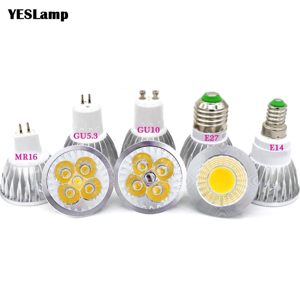 Led Bulb Spotlight MR16 GU10 E27 E14 SpotLight  Lamp 2835 SMD Lampada GU5.3 220V 110V 12V 3W COB Bulb 9W 12W 15W For Home Decor