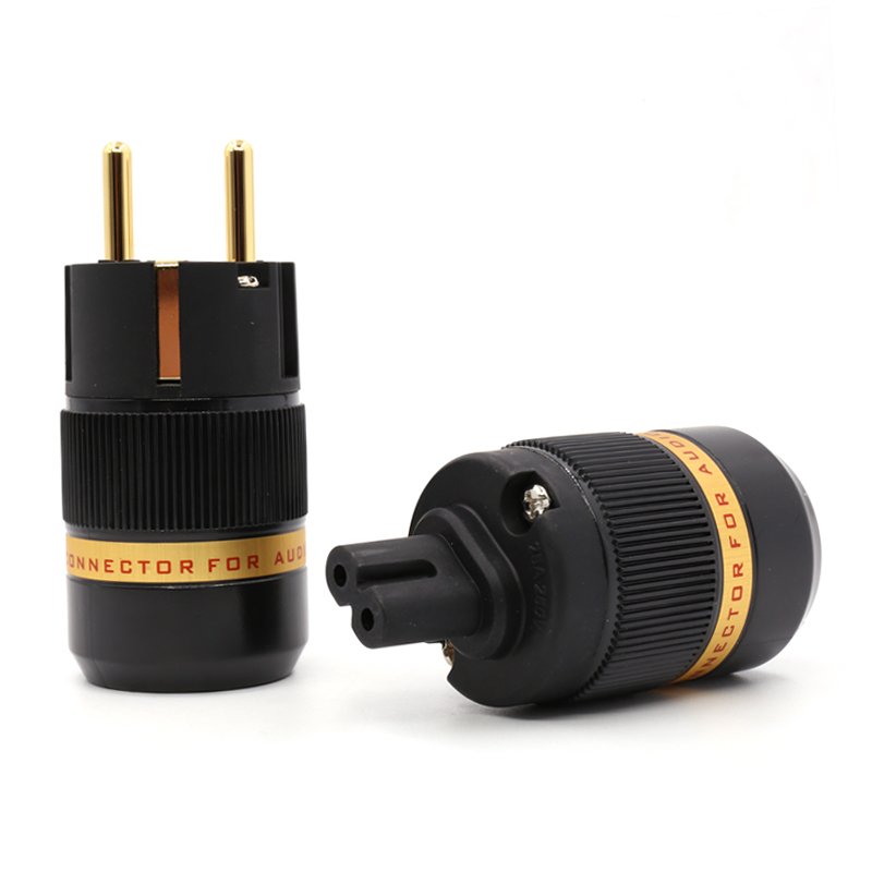 Free shipping pair Viborg VE501G+VF508G Audio gold plated Schuko power plug connector +Figure 8 IEC plug connector купить в Москве 2019