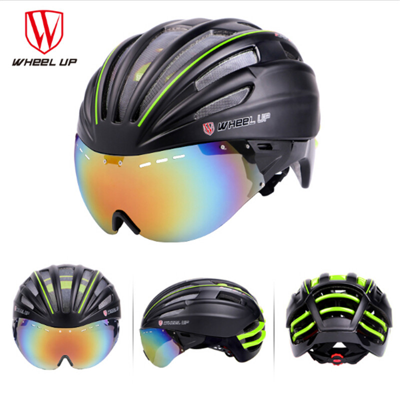 WHEEL UP Professional Cycling Helmet Men/Women Breathable Goggles MTB Road Bicycle Bike Helmet With EPS Lens Casco Ciclismo rockbros cycling helmet men women breathable 32 air vents goggles mtb road bicycle bike helmet with 3 pair lens casco ciclismo