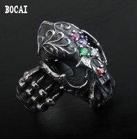 925 Серебряное Ретро Индивидуальность Мода Гепард череп рот тайское серебряное кольцо