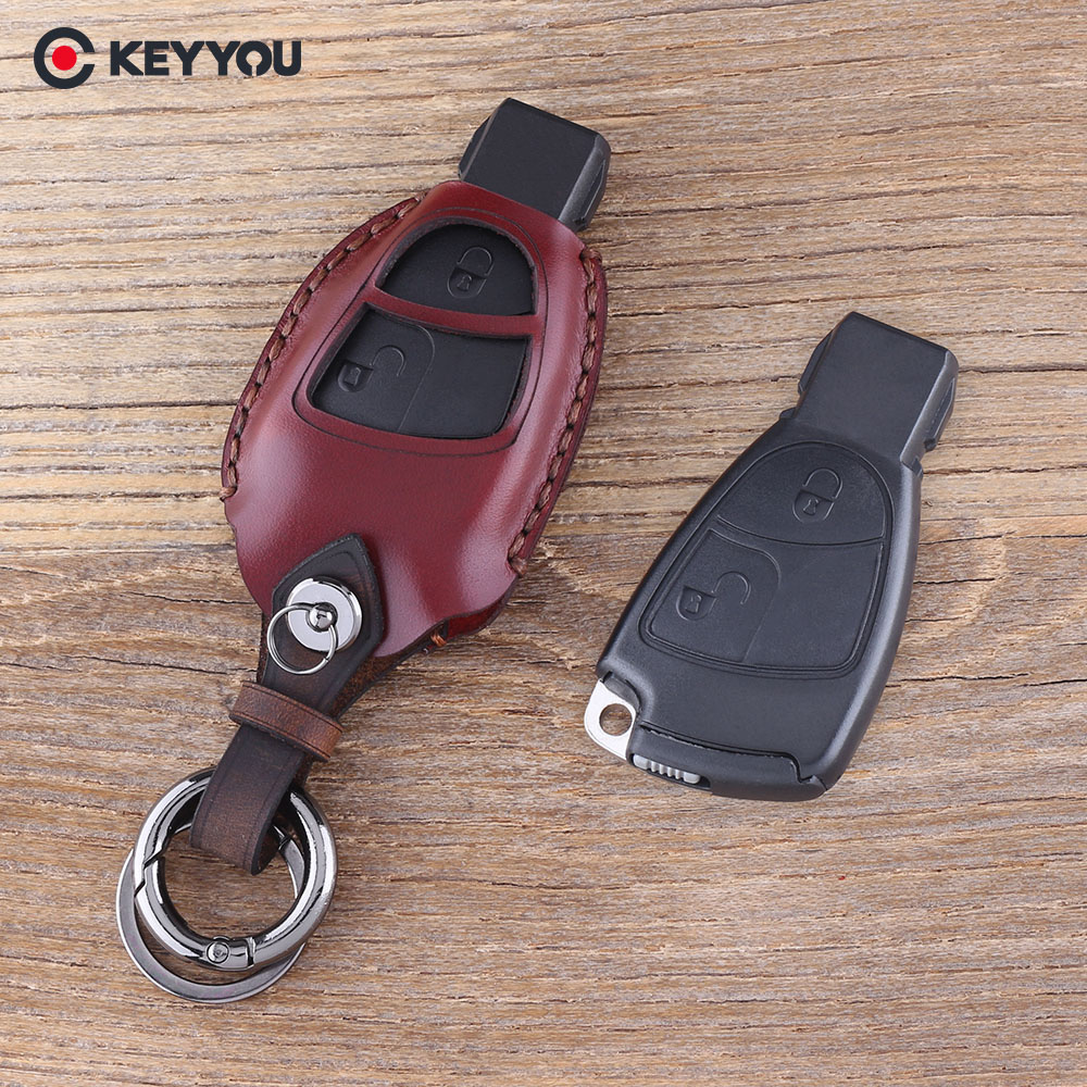 KEYYOU Genuine Leather Keychain Remote Case For Mercedes Benz B C E S ML SLK CLK Class 2 Buttons Key Shell Fob Cover недорого