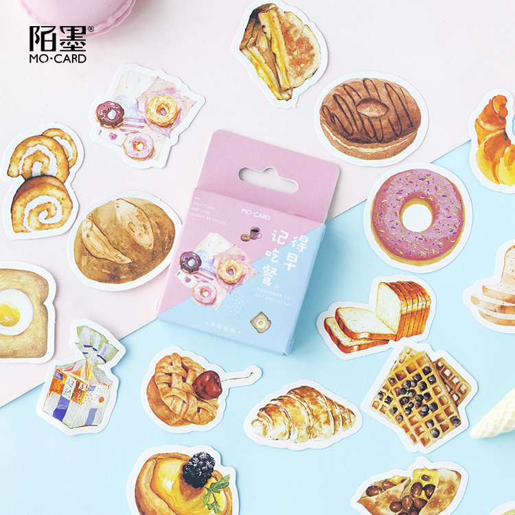 46PCS/box Cute Breakfast Diary Paper Lable Sealing Stickers Crafts And Scrapbooking Decorative Lifelog DIY Stationery