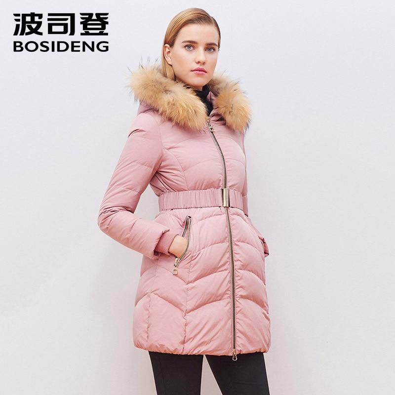 BOSIDENG 2018 women winter down coat women down jacket real raccoon fur adjustable waist slim high quality hood B1501212