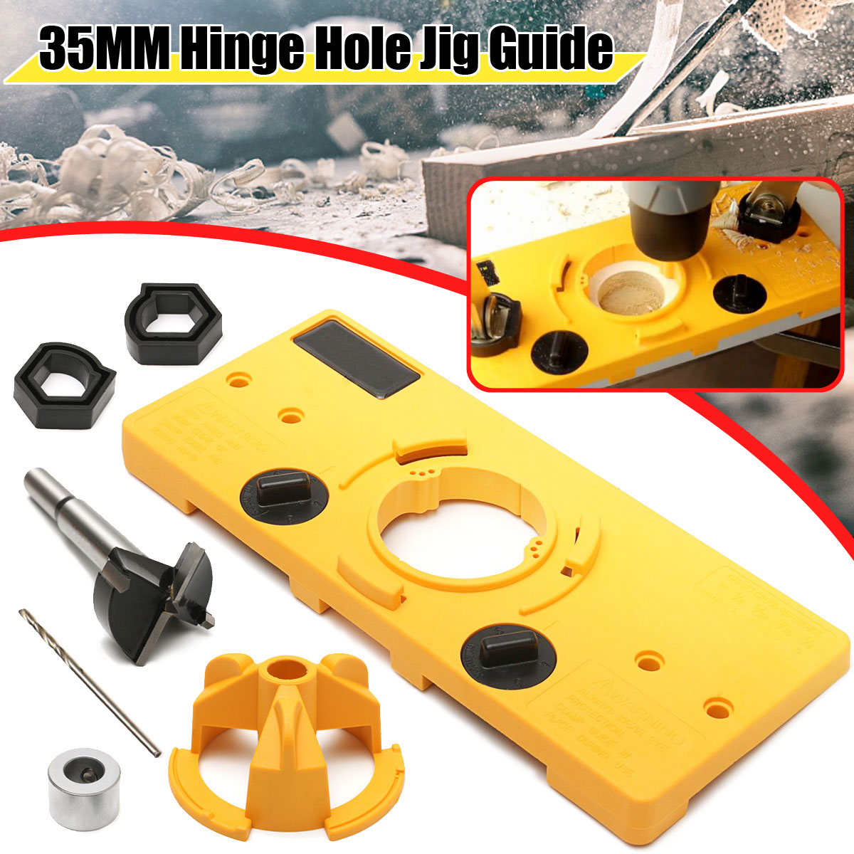 35mm Hinge Drilling Jig + 35mm Forstner Bit woodworking tool drill bits 1pc cemented carbide 35mm hole saw woodworking core drill bit hinge cutter boring forstner bit tipped drilling tool high quality