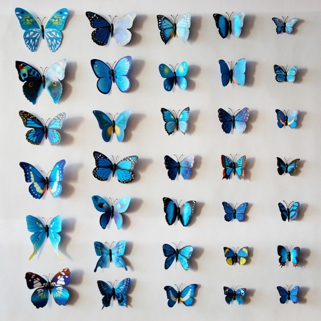 12Pcs/Lot 3D Magnetic Butterfly Stickers Wall Decorative Stickers DIY Wall  Stickers Home Decoration Adesivo Part 34