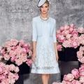 Синий мать Брючный костюм Невесты Кружевные Платья Куртка Короткая Крестная Платья Платье-де-madrinha Колен Вечерние Платья