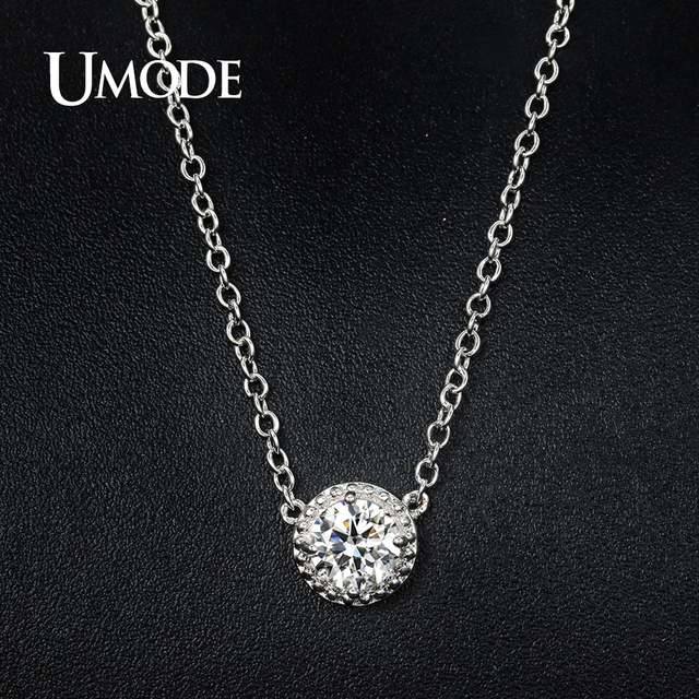 Umode trendy top round cubic zirconia pendant necklaces for women umode trendy top round cubic zirconia pendant necklaces for women white gold color link chain colar aloadofball Gallery