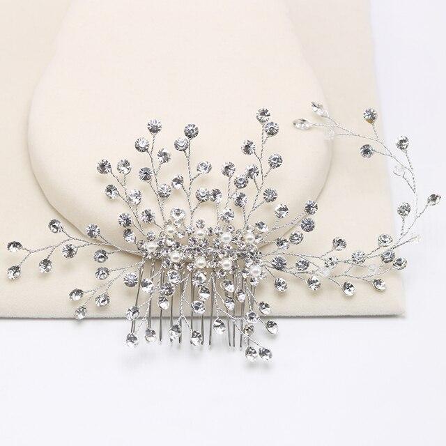 Beaucoup de Style Argent Perle Strass De Cheveux De Mariage Peigne Pour Les Femmes Cristal Bijoux De Cheveux À La Main Coiffe De Mariée Cheveux Accessoires 5