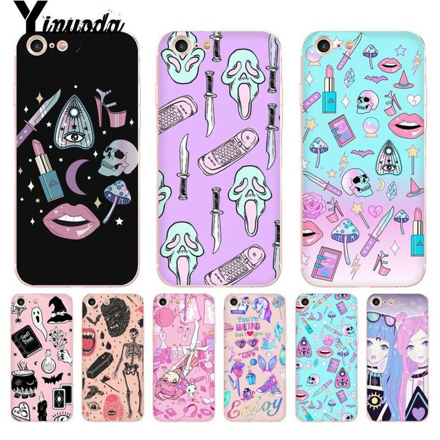 on sale 614e4 53191 US $1.19 7% OFF|Yinuoda For iphone 7 6 X Case Girly Pastel Witch Goth  Transparent Phone Cover Case for iPhone 8 7 6 6S Plus X 5 5S SE 5C XS XR-in  ...