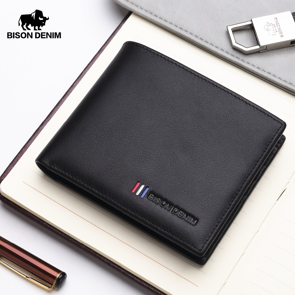 BISON DENIM NEW Luxury Brand Leather Wallet Male Fashion Bifold Short Card Holder Wallet Genuine Cowhide Leather Purse N4475