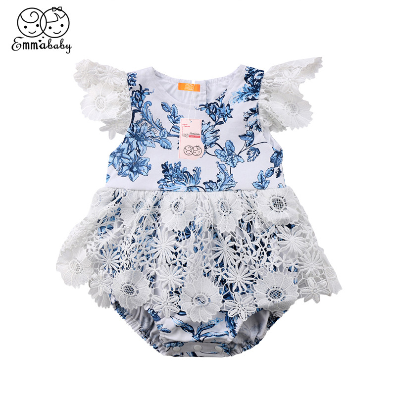 Newborn Baby Girl Lace Romper Summer  Bodysuit Playsuit JumpsuitClothes Outfits