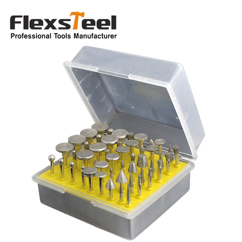 цена на 50pcs 1/8 Shank Diamond Grinding Bit Grinder Head Lapidary Glass Burr Drill Bit Set for Ceramics Tile Glass Dremel Rotary Tools