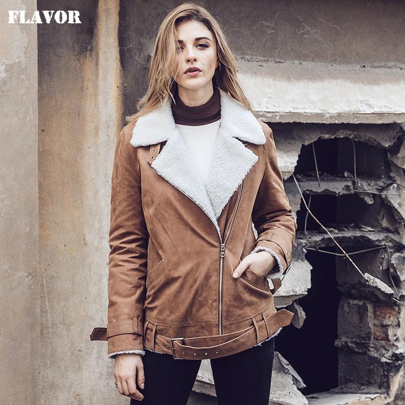 Mantel Weibliche Echtem Pelz Frauen Neue Echt Leder Jacke Schweinsleder Brown Lammfell Faux 2017 Motorrad 7wtvxUwS