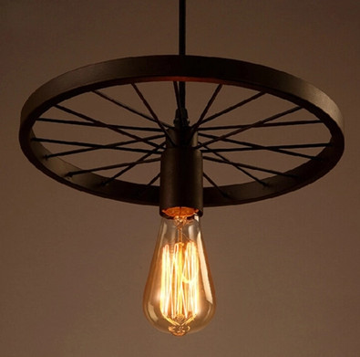ФОТО 3-arm iron industrial wheel round chandelier country restaurant heavy metals industry the wind restoring ancient ways robles