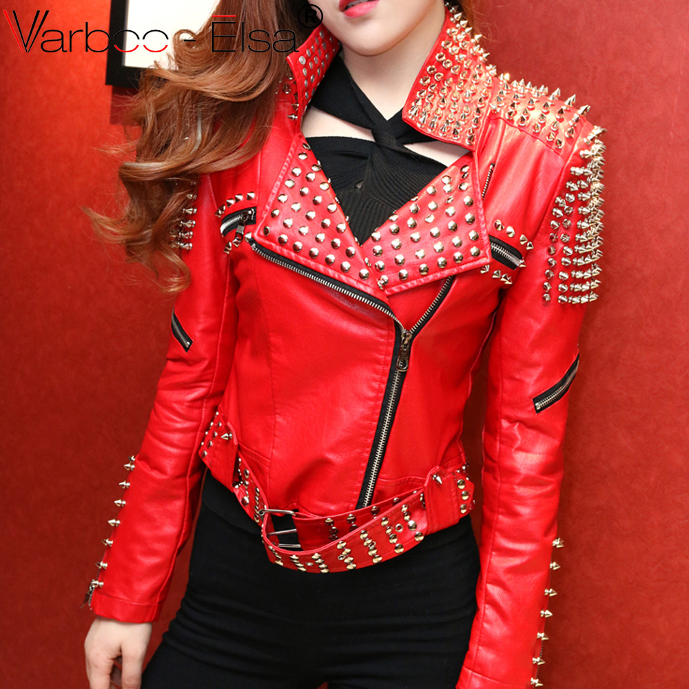 VARBOO_ELSA black Red Leather Jacket Women Punk Rivets Studded Motorcycle Leather Jackets punk leather punk Style leather coat