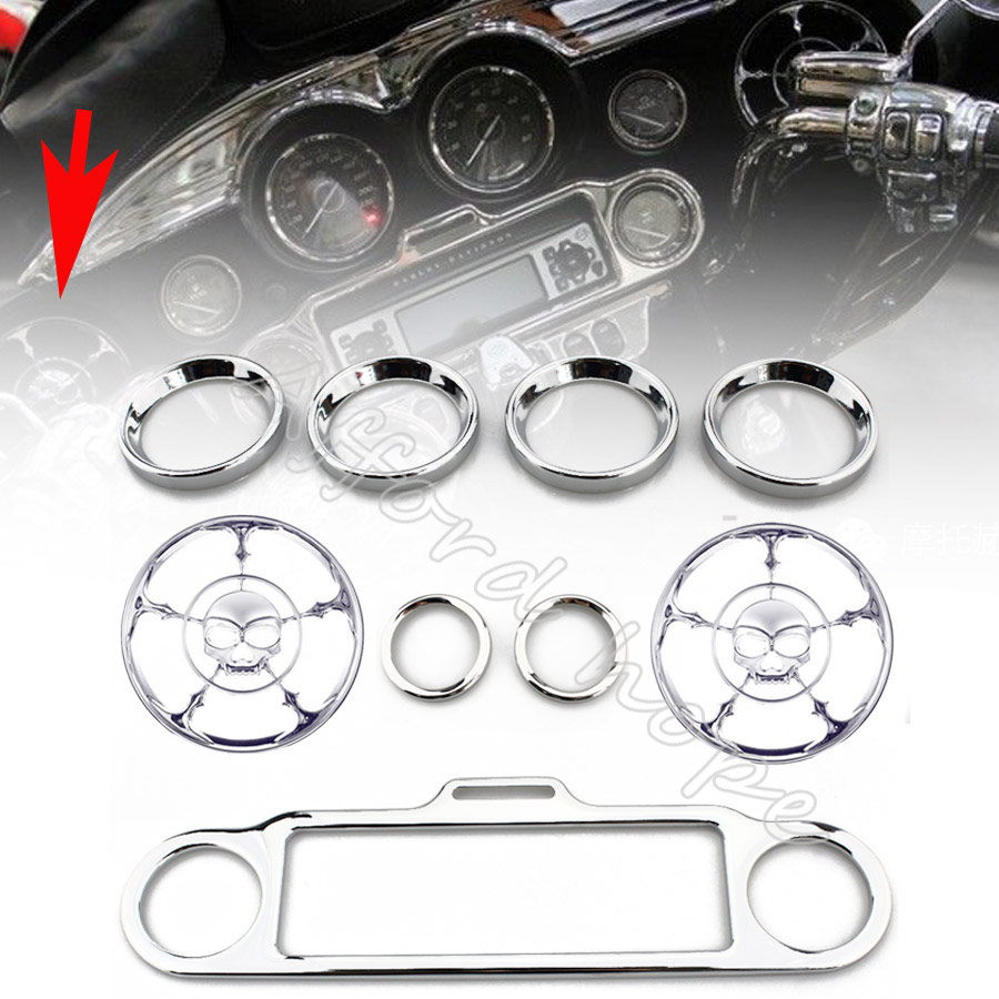 Chrome Skull Speaker Trim Ring Stereo Accent Speedometer Cover 9pcs For Harley Ultra Classic Touring Electra Glide 1996 2013