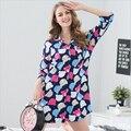 New Três Quartos Camisa saia Nightdress mulheres encantador Dos Desenhos Animados Solta tamanho Grande roupas para casa