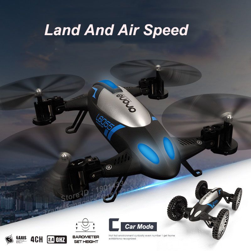 Newest Air Pressure Sensor 2 in 1 Land Or Sky RC Quadcopter Flying Car 360 Degree Roll Helicopter Drone Remote Control Toys 100% brand new remote control helicopter led lights quadcopter 4 channels 360 degree roll over