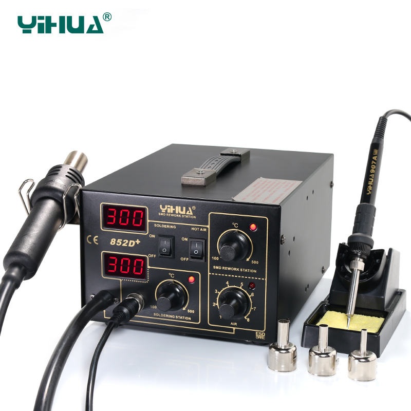 YIHUA 852D+Pump Air Flow Adjustable Hot Air With Soldering Air Soldering StationYIHUA 852D+Pump Air Flow Adjustable Hot Air With Soldering Air Soldering Station