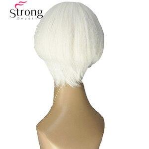 Image 3 - قوي الجمال قصيرة لينة بيضاء شعر مستعار أشقر الحرارة freindy الاصطناعية شعر مستعار كامل للنساء