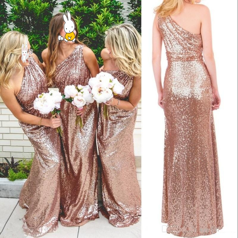 Vestidos Largos Rose Gold Sequins Bridesmaid Dress