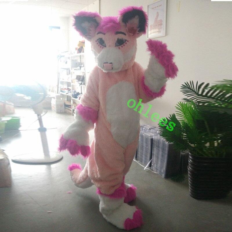 Ohlees photo réelle rose Fursuit Husky Wolf halloween mascotte costumes personnage tête fantaisie costume de fête taille adulte