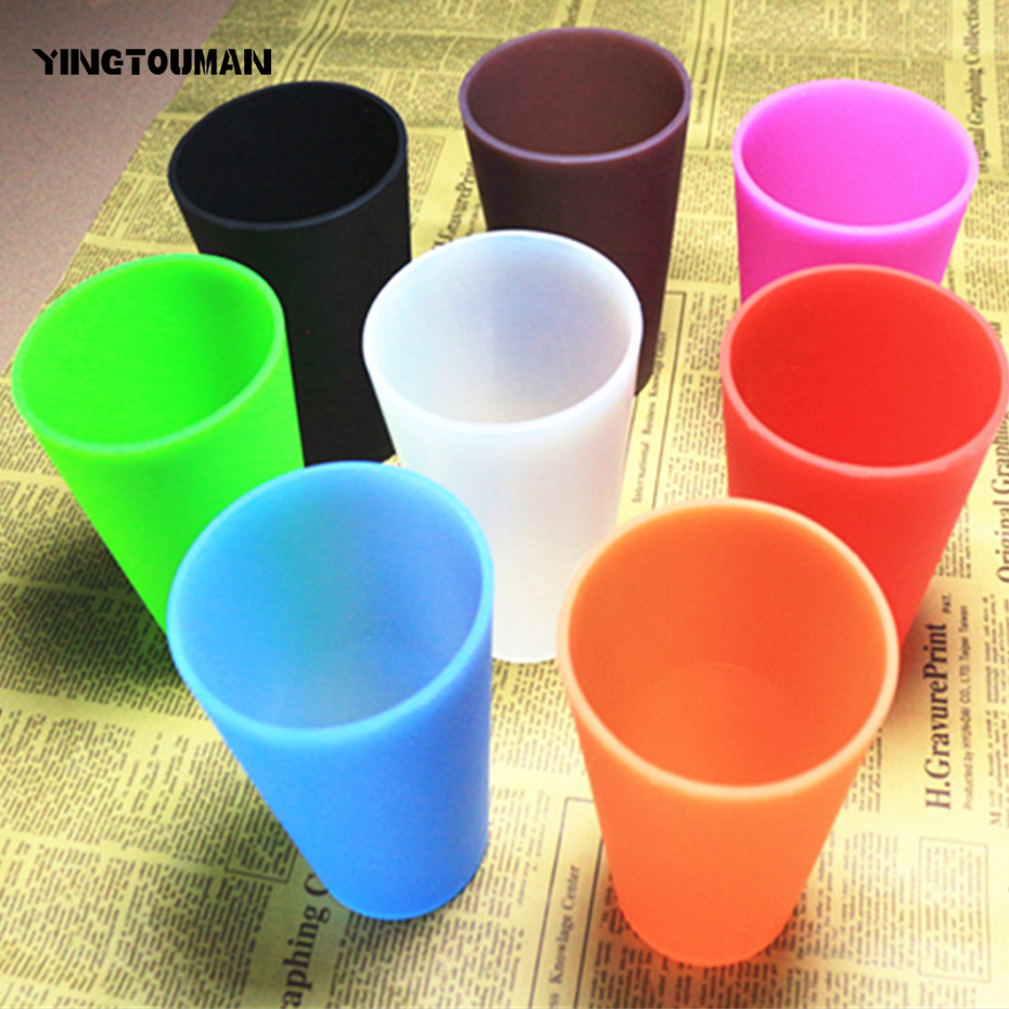 YINGTOUMAN 2017 New 5pcs/lot Outdoor Sport Cup Camping Traveling Mountaineering Foldable Flexible Silicone Cup 370ml